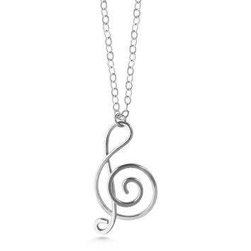 Music note necklace, sterling silver treble clef