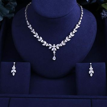 Sparking Brilliant Cubic Zircon Clear Earrings Necklace Heavy Dinner Jewelry Set Wedding Bridal Dress