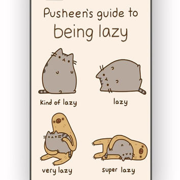 Pusheen cat guide to being lazy for iPhone 4/4S Case **