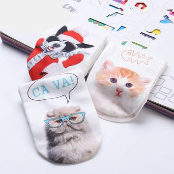 Cat Printing Slippers Socks Funny Crazy Cool Novelty Cute Fun Funky Colorful