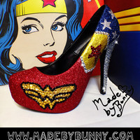 Wonder Woman Sparkly Glitter Heels with Crystal Rhinestones
