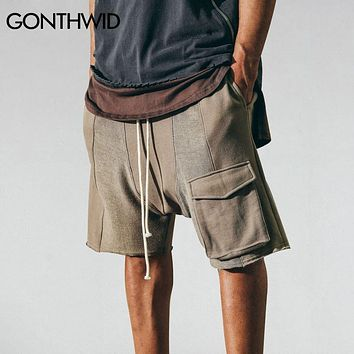 Hip Hop Men Cargo Shorts Male Summer Drawstring Cargo Pockets Skateboards Sportings Urban Clothing Sweatpants Joggers