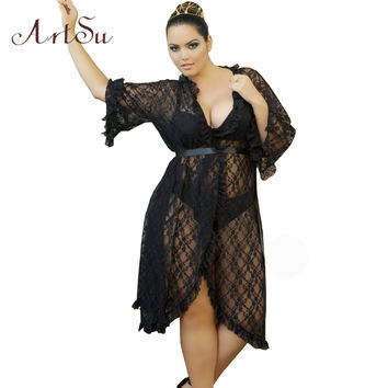 ArtSu 2017 Sexy Beach Dresses Big Plus Size Maxi Summer Dress Lace Casual Black Red Women Clothing Woman DR50163