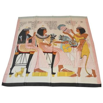 "Multi-Color ""Egyptian"" Scene Silk Scarf"