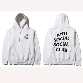 ONETOW ANTI SOCIAL SOCIAL CLUB printed sweater men and women tide brand street fashion couple hooded jacket White