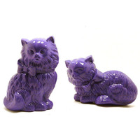 purple cat wall hangings  //  wall art, wall decor, purple decor, violet, home decor, kitty, cats, kitschy collectible, painted cats