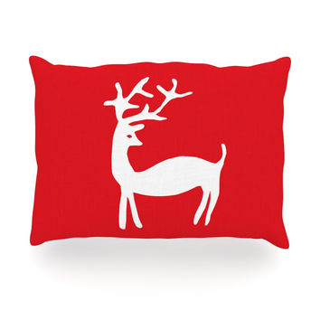 "Miranda Mol ""Reindeer Red"" Holiday Oblong Pillow"