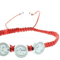 Men or Women's Catholic & Religious Red St. Benedict Medal Adjustable Cord Bracelet with 3 Medals. Catholic Saint Benedict Patron Saint of Kidney Disease, Poison Sufferers, Students, Poisoning, School Children, Homeless, Monks.