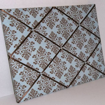 Cottontail Blue & Brown Damask fabric ~ French Memo Board by ToileChicBoutique