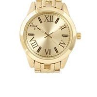 Gold Oversized Chain Link Golden Watch by Charlotte Russe