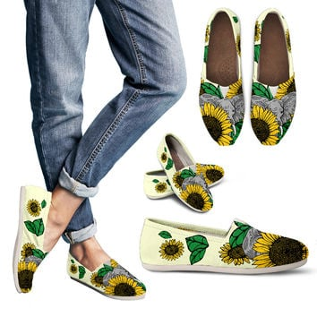Elephant Sunflower Casual Shoes