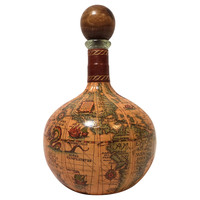 Italian Leather Decanter w/ Maps