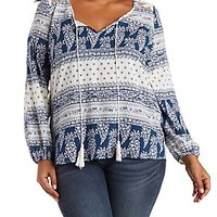 PLUS SIZE PRINTED TOP WITH LACE BACK & TASSEL TIE
