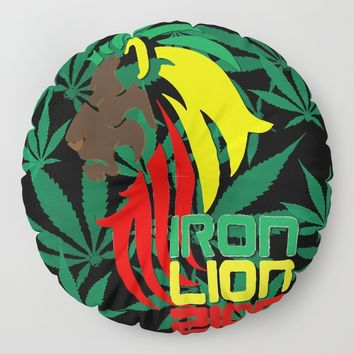 Reggae, Rastafarian - Iron, Lion, Zion, ganja, weed, pot, smoke background, legalize maryjane, music Floor Pillow by Peter Reiss