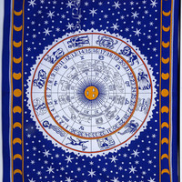 Astrology Tapestry, Hippie Tapestries, Indian Zodiac Bedspread Bed Cover Throw Boho Wall Hanging Twin Hippie Coverlet, Bohemian Wall Decor