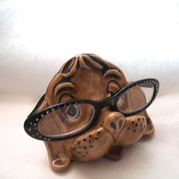 Vintage Eyeglass Holder Ceramic Dog 1970s Made By Penny Halstead Pottery