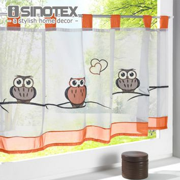 Fashion Cafe Owl Embroidered Curtain for the Kitchen 100% Tab Top Polyester Pastoral Style Small Cafe Living Room Bedroom 1 PCS
