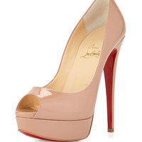 Lady Peep Patent Red Sole Pump, Nude - Christian Louboutin