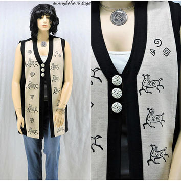 Long tribal vest / size L / XL / boho hippie ethnic festival vest / 80s / 90s hand loomed cotton vest from Nepal / SunnyBohoVintage