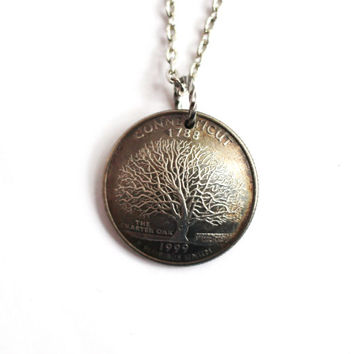 State Quarter Domed Coin Necklace Pendant, Connecticut, U.S. Quarter Dollar, 1999, Charter Oak Tree Jewelry by Hendywood
