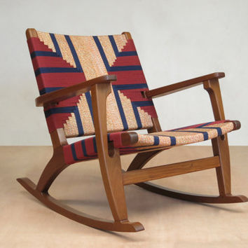Mid Century Modern Rocking Chair, Accent Chair, Lounger Chair, Walnut, Handwoven Seat, Navy Burgundy,  Linear Pattern, Retro Modern Rustic