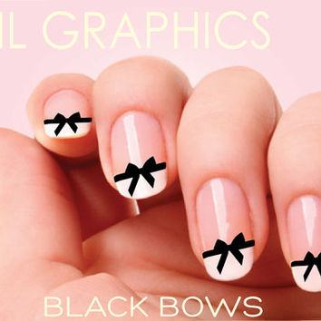 30 BLACK BOWS Nail Decals CHANEL Nail Art