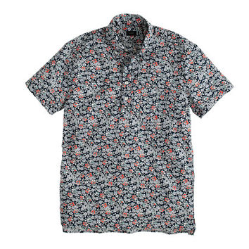 J.Crew Mens Secret Wash Short-Sleeve Popover Shirt In Coastline Navy Floral
