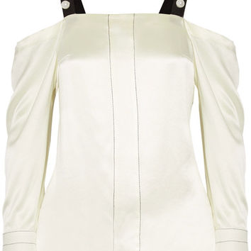 3.1 Phillip Lim - Cold-shoulder faux pearl-embellished silk-satin blouse