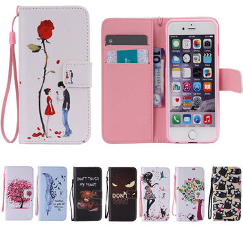 For iPhone Art Print Pattern Leather Wallet Flip Case For Apple iPhone 6 6S/ 4S / 5 5S / Touch 5  6/ 6s Plus/ SE /5C Stand Cover