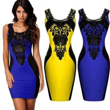 2017 new European American Style Sexy Bodycon Women Summer Dress Embroidered Sleeveless Bandage Night Club Short Party dresses
