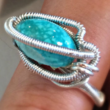 Turquoise Cap Polished Wire Wrapped Ring