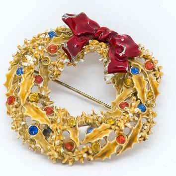 Vintage Wreath Brooch - Vintage Art Brooch - Vintage Brooch - Christmas Brooch - 1950's Jewelry - Gift for her - Mom Gift - Christmas Gift