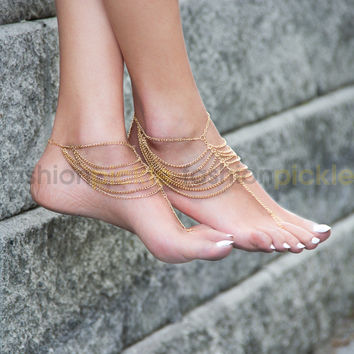 Gold Chains with Toe Ring Anklet