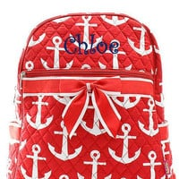 Monogrammed Red and White Anchor Quilted Backpack  Personalized Quilted Backpack