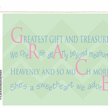Baby Nursery Decor Infant Gifts Custom Baby Gift Baby Name Art Personalized Newborn Girl Baby Printables Toddler Girl Gift Poem 8x10 Grace