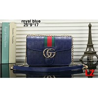 GUCCI 2018 new summer fashion chain Messenger bag F-OM-NBPF royal blue