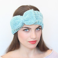 Mint Color Knitted  Headband With Cute Bow Great accessory for your outfit