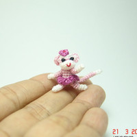 1 inch miniature sock monkey dancer - Tiny amigurumi crochet animal