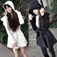 Women's Hooded Trench Coat Outerwear Top & Hoodie Jacket Dress