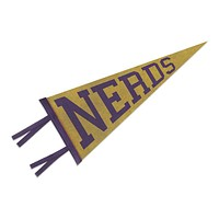 Nerds Pennant in Yellow and Purple