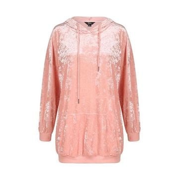 Fashion loose solid color long sleeve velvet Pocket pink  woman's Casual hooded dress