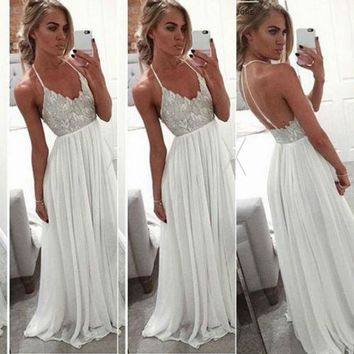 Fashion Women Party Formal Sexy Charming Halter Floral Long Backless Dress Ladies Long Maxi Cami Dresses S-XL