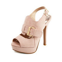 Nubuck Double Buckle Slingback Pump: Charlotte Russe