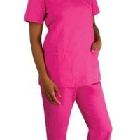 Scrubs-Cherokee Workwear Women's Scrub Set with Mock Wrap Top and Low Rise Flare Leg Pant (Caribbean Blue, X-Small)
