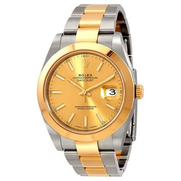 Rolex Datejust 41 Champagne Dial 18K Yellow Gold Oyster Mens Watch 126303CSO
