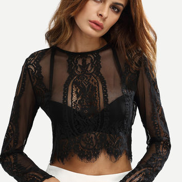 Sexy Lace Black Crop Top with Long Sleeves