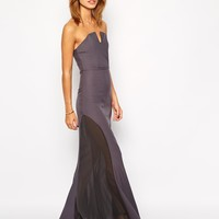 Jarlo Petite Sheer Insert Strapless Maxi Dress
