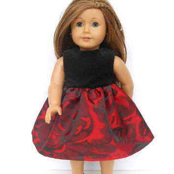 American Girl Doll Clothes, Red and Black Party Dress, Black Velvet Bodice, Red and Black Floral Skirt, Christmas Dress fits 18 Inch Dolls