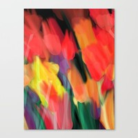 Meadow Flowers At Night Abstract Canvas Print by Jen Warmuth Art And Design