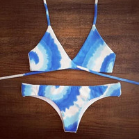 Cross blue gradient Swimwear Swimsuit Bikini